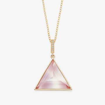 ROSE QUARTZ MINI GUARDIAN PENDANT WITH DIAMOND (GOLD)