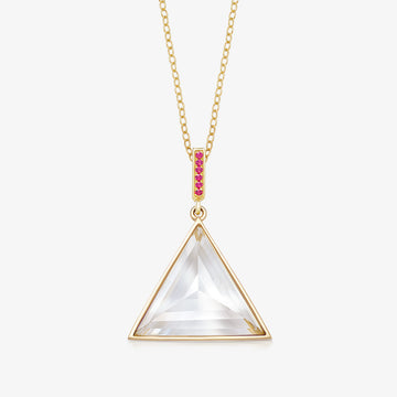 CLEAR QUARTZ MINI GUARDIAN PENDANT WITH RUBY (GOLD)