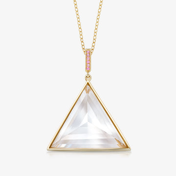 CLEAR QUARTZ ULTIMATE GUARDIAN PENDANT WITH PINK SAPPHIRE GOLD (LARGE)