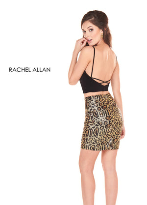 Rachel Allan 4002 prom dress images.  Rachel Allan 4002 is available in these colors: Black Cheetah.