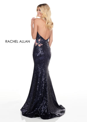 Rachel Allan 4155 prom dress images.  Rachel Allan 4155 is available in these colors: Navy Multi,Burgundy Multi.