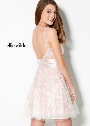 Ellie Wilde EW21914S prom dress images.  Ellie Wilde EW21914S is available in these colors: Purple, Pink, Red.