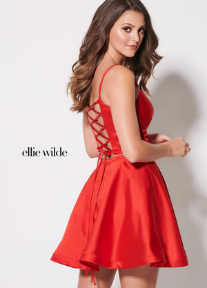 Ellie Wilde EW21947S prom dress images.  Ellie Wilde EW21947S is available in these colors: Marigold, Red, Black.