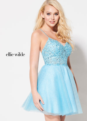 Ellie Wilde EW21950S prom dress images.  Ellie Wilde EW21950S is available in these colors: Sky Blue, Wine.