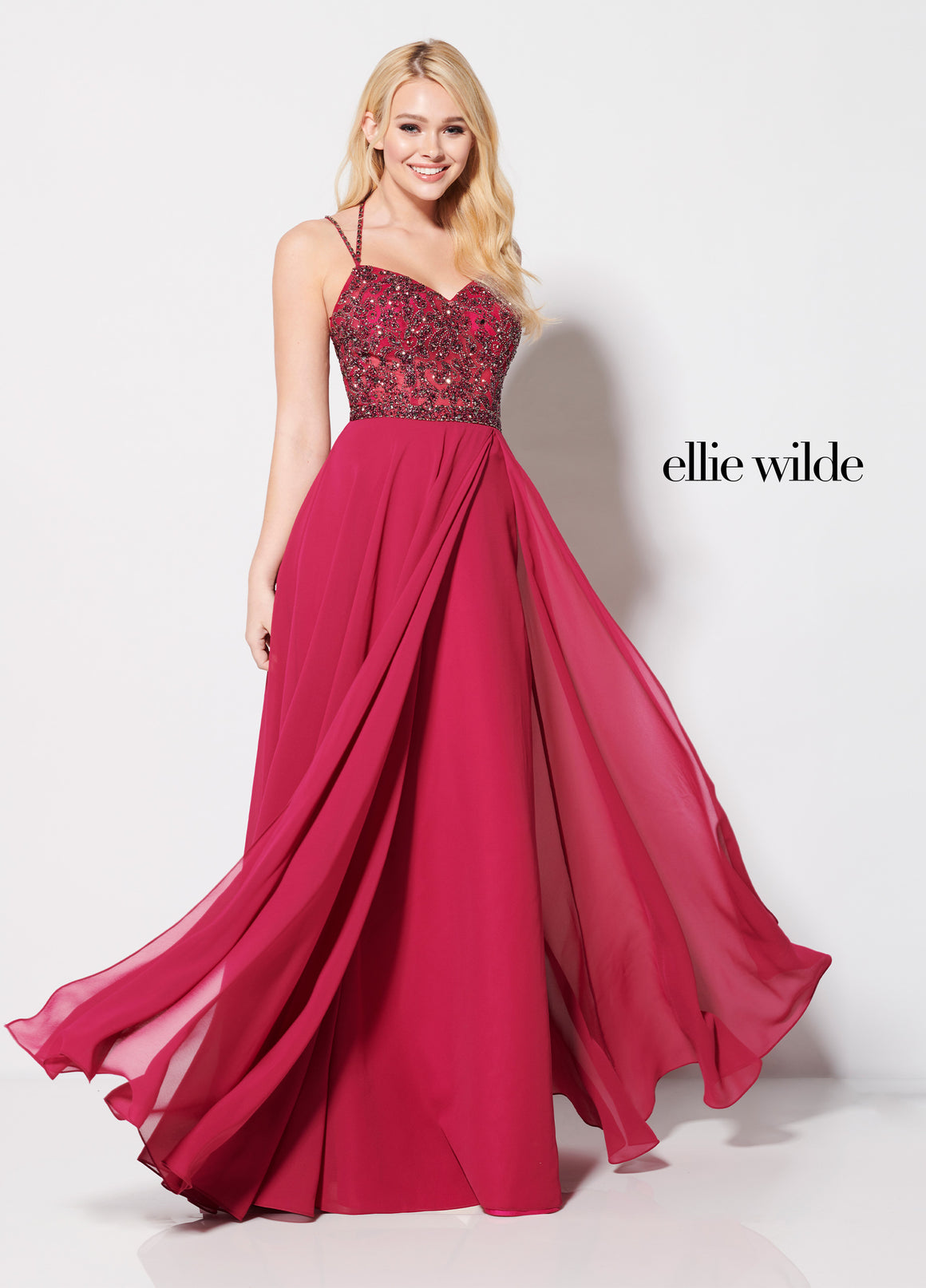 Ellie Wilde EW21961 prom dress images.  Ellie Wilde EW21961 is available in these colors: Magenta, Royal Blue.