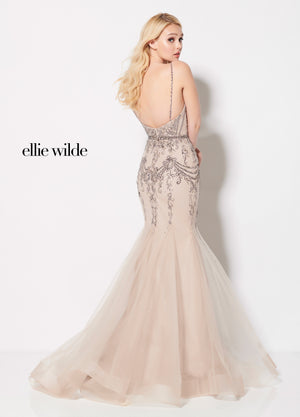 Ellie Wilde EW21970 prom dress images.  Ellie Wilde EW21970 is available in these colors: Taupe.