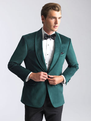 Emerald Green Tuxedos in Slim Fit Venice Velvet