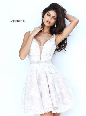 Sherri Hill 50656 prom dress images.  Sherri Hill 50656 is available in these colors: Ivory Nude.