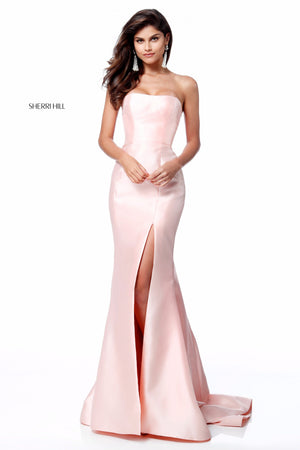 Sherri Hill 51671 prom dress images.  Sherri Hill 51671 is available in these colors: Ivory; Red; Black; Light Blue; Yellow; Blush; Emerald; Royal.