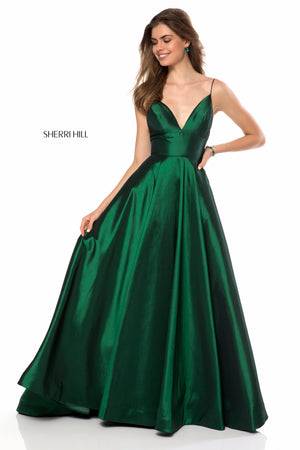 Sherri Hill 51822 prom dress images.  Sherri Hill 51822 is available in these colors: Navy; Red; Emerald; Black; Ivory; Wine.