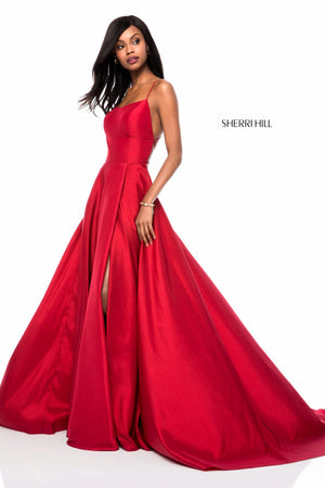 Sherri Hill 52022 prom dress images.  Sherri Hill 52022 is available in these colors: Black, Navy, Red, Emerald, Wine, Yellow, Blush, Bright Pink, Light Blue, Royal.