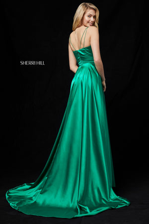 Sherri Hill 52119 prom dress images.  Sherri Hill 52119 is available in these colors: Red; Black; Emerald; Mocha; Teal; Dark Royal; Wine; Rose; Navy.