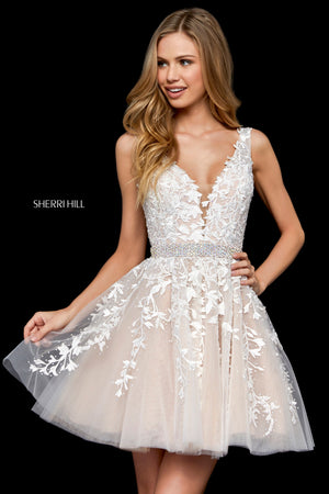 Sherri Hill 52157 prom dress images.  Sherri Hill 52157 is available in these colors: Ivory Nude; Blush; Light Blue; Red; Black; Navy; Wine; Gold; Yellow.