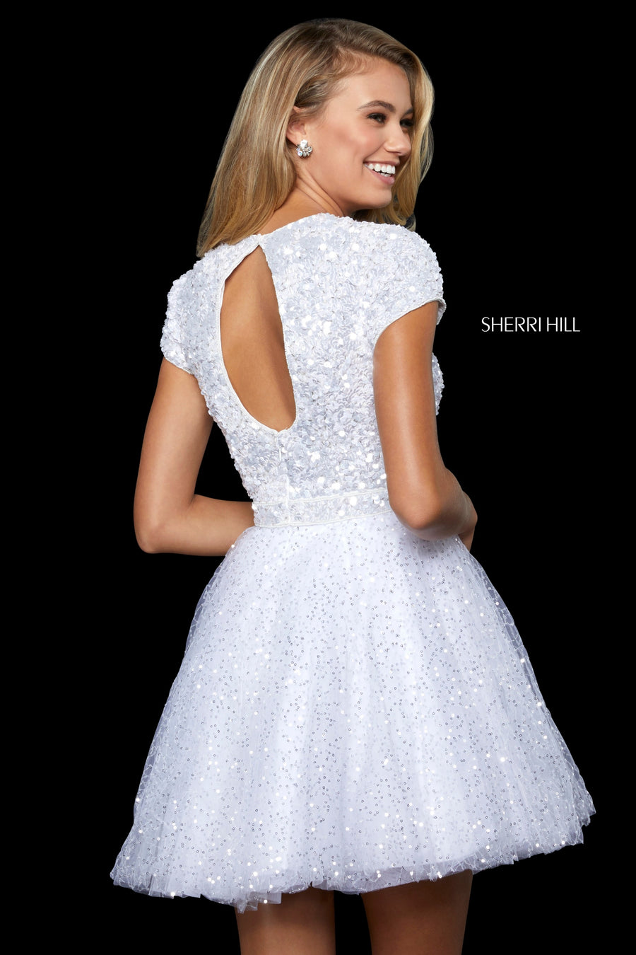 Sherri Hill 52163 prom dress images.  Sherri Hill 52163 is available in these colors: Ivory.