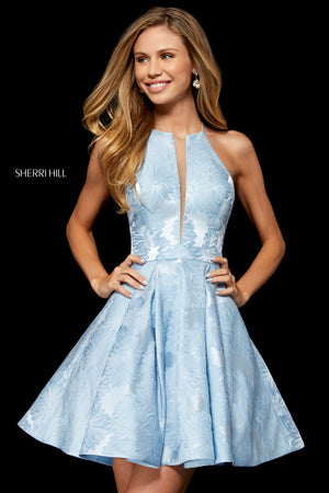Sherri Hill 52178 prom dress images.  Sherri Hill 52178 is available in these colors: Black; Ivory; Lilac; Light Blue.