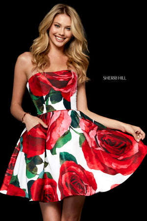 Sherri Hill 52267 prom dress images.  Sherri Hill 52267 is available in these colors: Ivory Red Print; Black Red Print.
