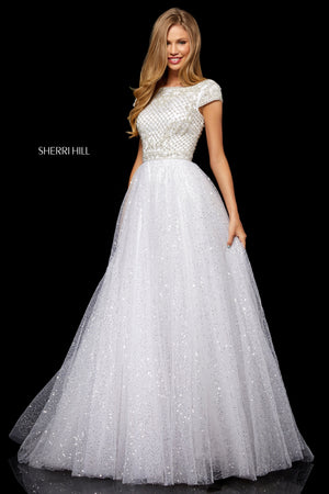 Sherri Hill 52276 prom dress images.  Sherri Hill 52276 is available in these colors: Nude Silver; Ivory Silver; Light Blue Silver; Periwinkle Silver.
