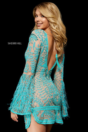 Sherri Hill 52307 prom dress images.  Sherri Hill 52307 is available in these colors: Aqua Pink; Nude Turquoise; Nude Coral.