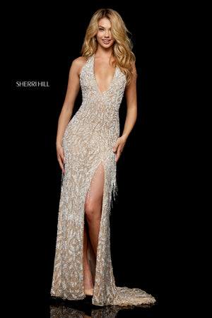 Sherri Hill 52326 prom dress images.  Sherri Hill 52326 is available in these colors: Nude Silver; Ivory Silver; Light Pink; Black; Burgundy; Navy.