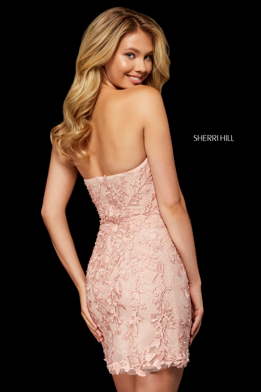 Sherri Hill 52339 prom dress images.  Sherri Hill 52339 is available in these colors: Ivory; Blush; Navy; Black; Wine; Light Blue; Red; Yellow; Lilac; Gold.
