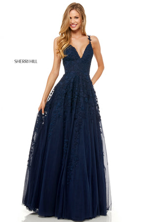 Sherri Hill 52342 prom dress images.  Sherri Hill 52342 is available in these colors: Black; Ivory; Navy; Wine; Red; Light Blue; Blush; Yellow.