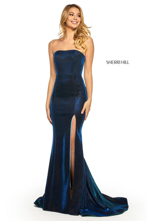 Sherri Hill 52362 prom dress images.  Sherri Hill 52362 is available in these colors: Electric Silver; Electric Purple; Electric Pink; Electric Blue; Electric Gold; Electric Aqua; Electric Teal; Electric Wine; Electric Berry.