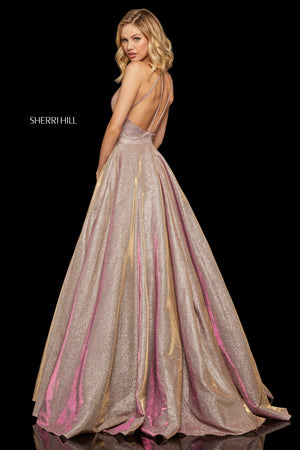 Sherri Hill 52364 prom dress images.  Sherri Hill 52364 is available in these colors: Emerald; Gunmetal; Rose Gold; Gold; Royal; Black.