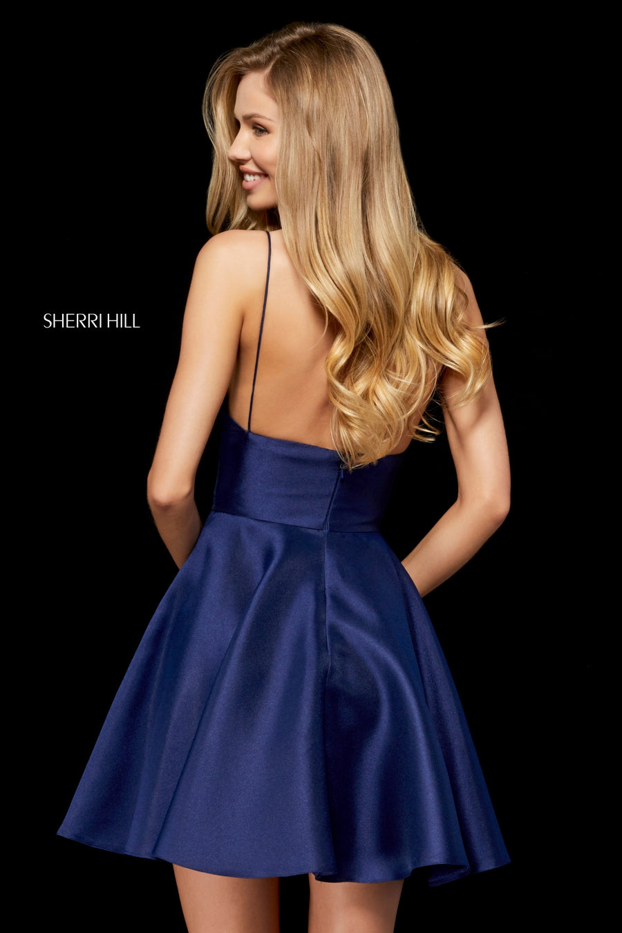 Sherri Hill 52379 prom dress images.  Sherri Hill 52379 is available in these colors: Fuchsia; Red; Royal; Black; Blush; Navy; Yellow; Lilac; Light Blue.