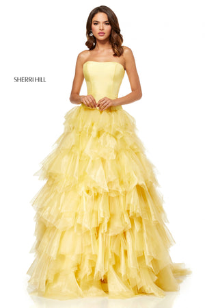 Sherri Hill 52417 prom dress images.  Sherri Hill 52417 is available in these colors: Light Blue; Yellow; Blush.