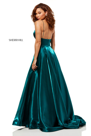 Sherri Hill 52424 prom dress images.  Sherri Hill 52424 is available in these colors: Gold; Wine; Navy; Emerald; Gunmetal; Purple.