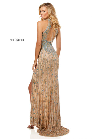 Sherri Hill 52426 prom dress images.  Sherri Hill 52426 is available in these colors: Gold Blue; Teal Multi; Nude Gold Silver.