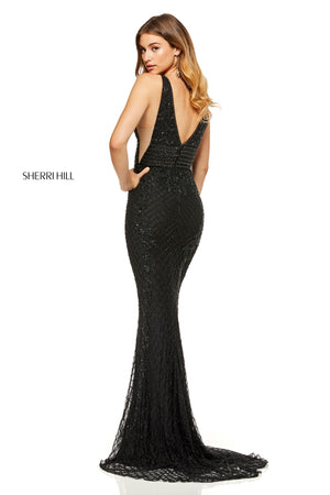 Sherri Hill 52453 prom dress images.  Sherri Hill 52453 is available in these colors: Silver; Black; Yellow; Lilac; Red; Light Blue; Periwinkle; Nude; Ivory.
