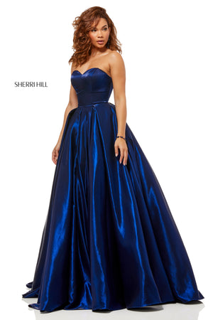 Sherri Hill 52456 prom dress images.  Sherri Hill 52456 is available in these colors: Teal; Yellow; Royal; Wine; Navy; Dark Purple; Rose; Fuchsia.