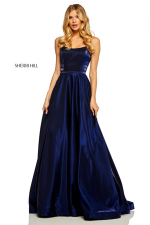 Sherri Hill 52457 prom dress images.  Sherri Hill 52457 is available in these colors: Yellow; Royal; Navy; Teal; Wine; Dark Purple; Rose.