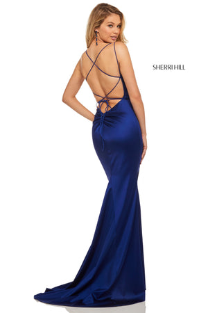 Sherri Hill 52613 prom dress images.  Sherri Hill 52613 is available in these colors: Teal; Blush; Ruby; Mocha; Navy; Black; Emerald; Red; Raspberry; Royal.