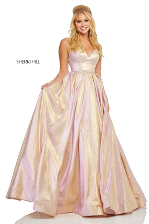 Sherri Hill 52755 prom dress images.  Sherri Hill 52755 is available in these colors: Rose Gold; Royal.