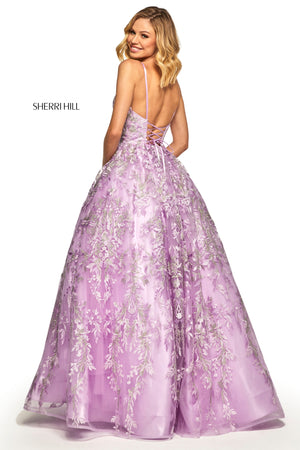 Sherri Hill 52759 prom dress images.  Sherri Hill 52759 is available in these colors: Seafoam; Pink; Lilac; Periwinkle; Ivory.