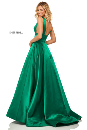 Sherri Hill 52911 prom dress images.  Sherri Hill 52911 is available in these colors: Emerald; Light Blue; Lilac; Yellow; Ivory; Royal; Red; Navy.