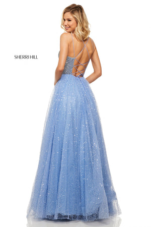 Sherri Hill 52913 prom dress images.  Sherri Hill 52913 is available in these colors: Light Blue; Ivory; Black; Navy; Light Pink; Periwinkle.