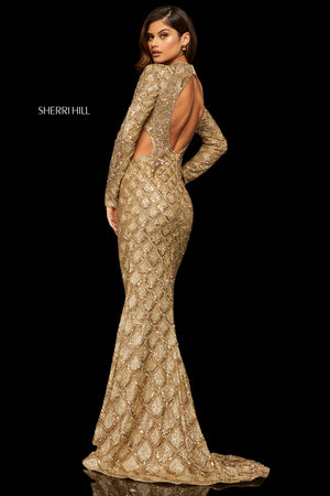 Sherri Hill 52916 prom dress images.  Sherri Hill 52916 is available in these colors: Silver; Red; Wine; Gold; Lilac; Black; Rose Gold; Light Blue.