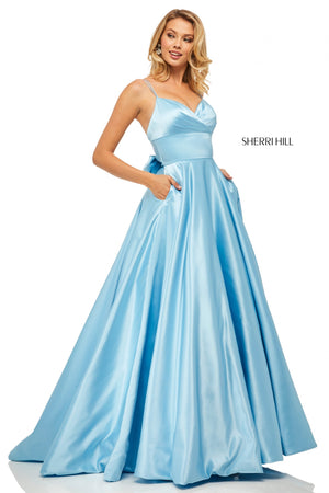 Sherri Hill 52926 prom dress images.  Sherri Hill 52926 is available in these colors: Lilac; Black; Emerald; Red; Navy; Royal; Light Blue.
