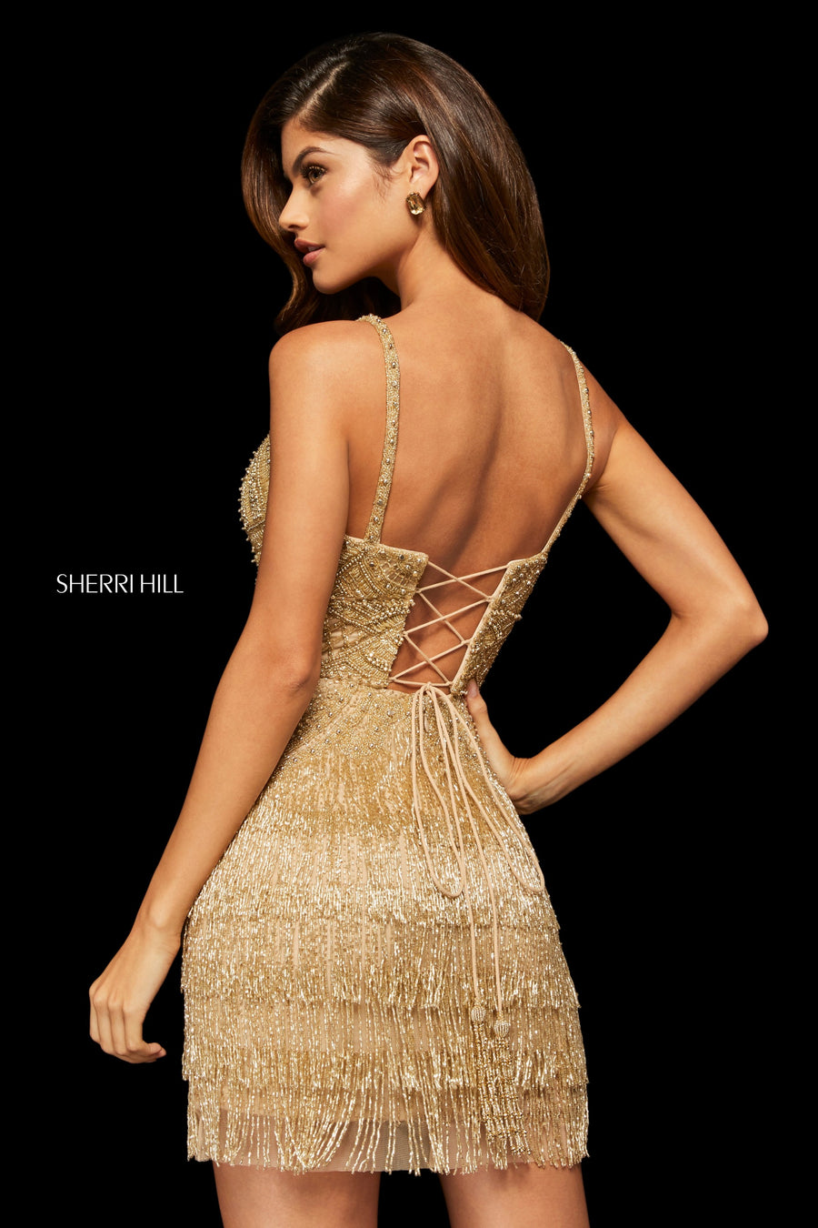 Sherri Hill 52938 prom dress images.  Sherri Hill 52938 is available in these colors: Ivory; Gold; Yellow; Red.
