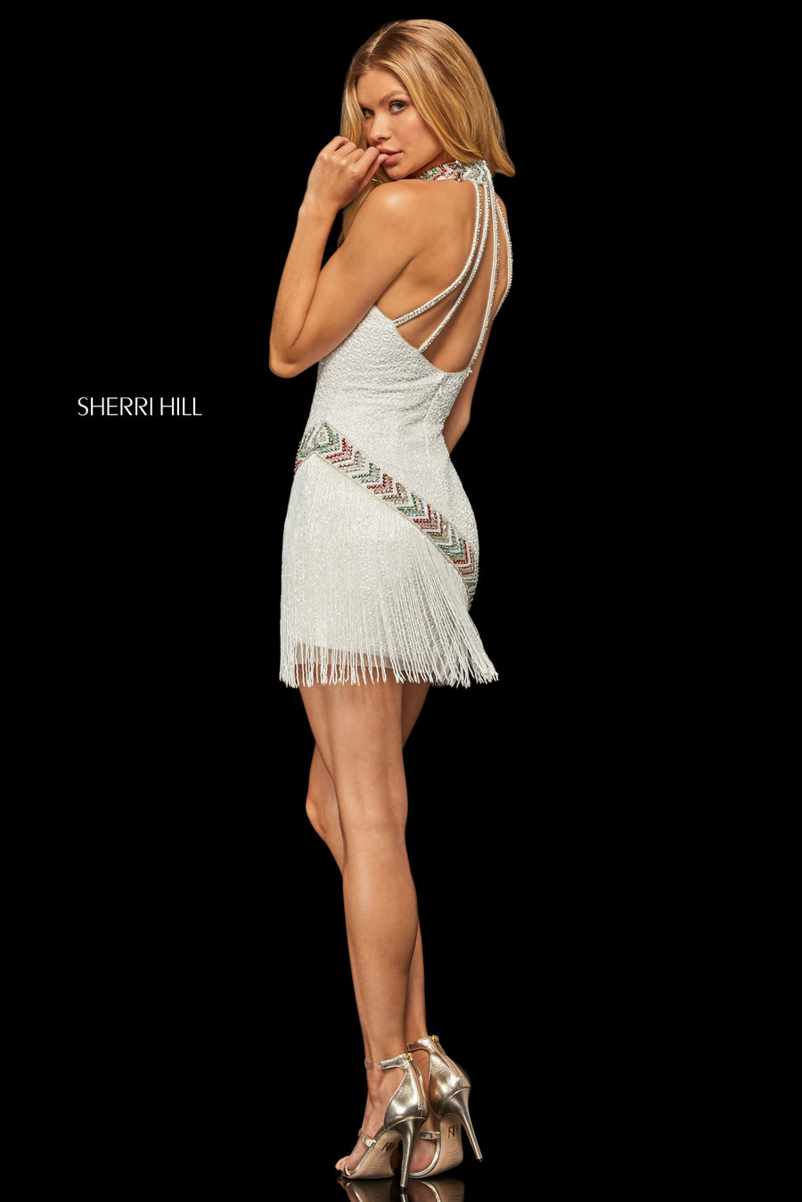 Sherri Hill 52940 prom dress images.  Sherri Hill 52940 is available in these colors: Ivory Multi; Nude Gold.