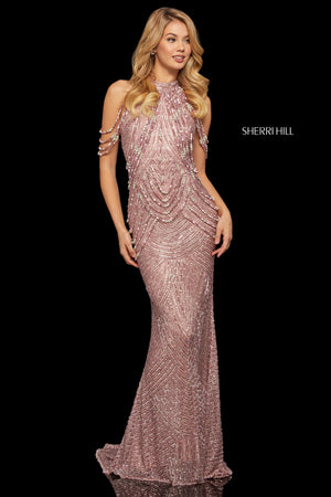 Sherri Hill 52949 prom dress images.  Sherri Hill 52949 is available in these colors: Silver; Gold; Navy; Light Blue; Rose Gold; Black.