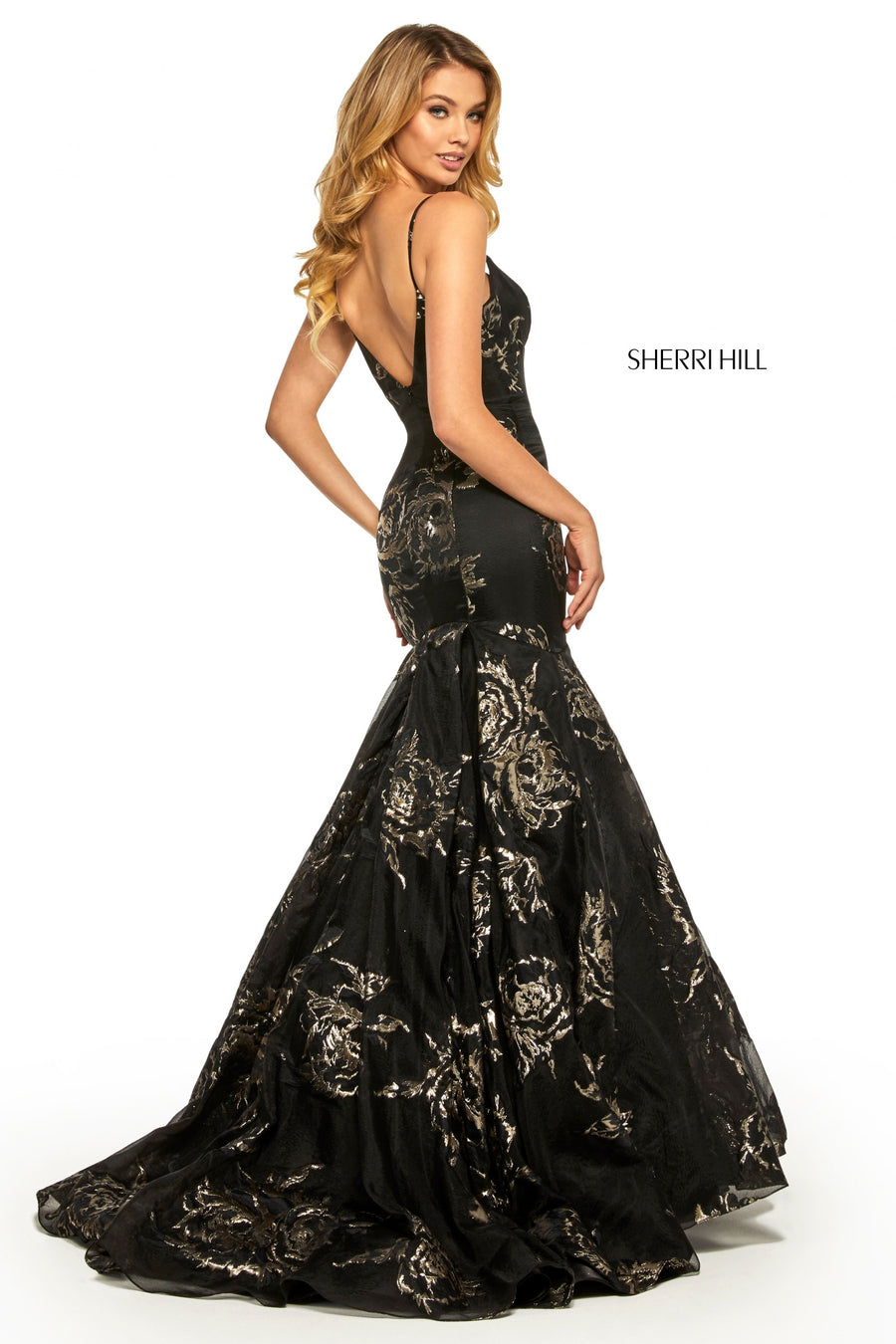 Sherri Hill 52951 prom dress images.  Sherri Hill 52951 is available in these colors: Ivory Gold; Black Gold.