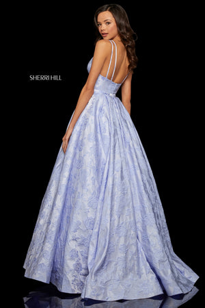 Sherri Hill 52953 prom dress images.  Sherri Hill 52953 is available in these colors: Yellow; Periwinkle; Ivory; Light Coral.