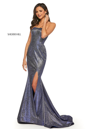 Sherri Hill 52954 prom dress images.  Sherri Hill 52954 is available in these colors: Mocha Silver; Fuchsia Silver; Turq Silver; Red Silver; Aqua Silver; Royal Silver; Nude Silver.