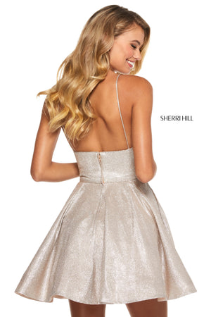 Sherri Hill 52955 prom dress images.  Sherri Hill 52955 is available in these colors: Aqua Silver; Red Silver; Turq Silver; Fuchsia Silver; Royal Silver; Mocha Silver; Nude Silver.
