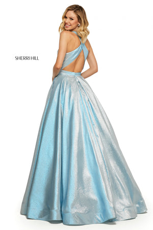 Sherri Hill 52957 prom dress images.  Sherri Hill 52957 is available in these colors: Pink; Sky Blue; Mint; Lilac; Rose Gold; Royal; Pink Blue.