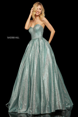 Sherri Hill 52959 prom dress images.  Sherri Hill 52959 is available in these colors: Aqua Silver; Fuchsia Silver; Royal Silver; Turq Silver; Red Silver; Nude Silver; Mocha Silver.